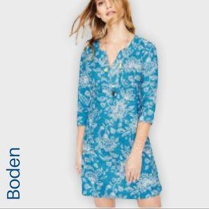Boden blue linen tropical print dress 4 long